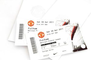 """Essen, Germany - April 8 2011: VIP Tickets for  Barclays Premier League soccer match Fulham against Manchester United for the Europa Suite at Old Trafford Stadium in England"""